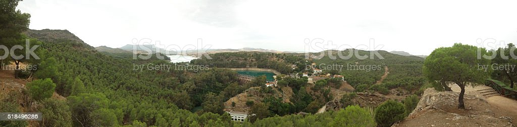 background landscape view panorama nature Andalusia with artificial lakes stock photo