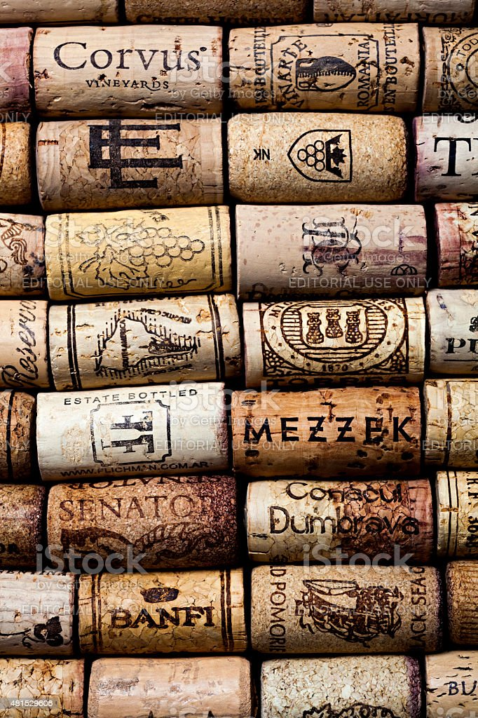 background made from  wine corks with brand-names and logos stock photo
