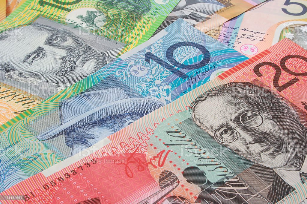 A background made up of Australian money  royalty-free stock photo
