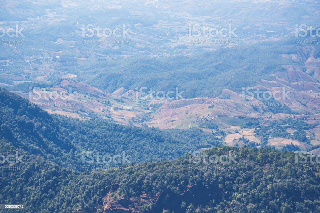 Background natural landscape view on the mountains. stock photo