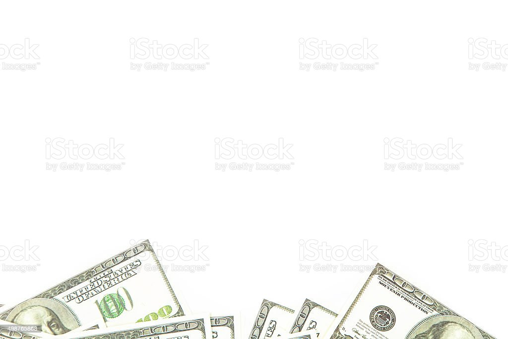 Background of 100 dollars on bottom stock photo