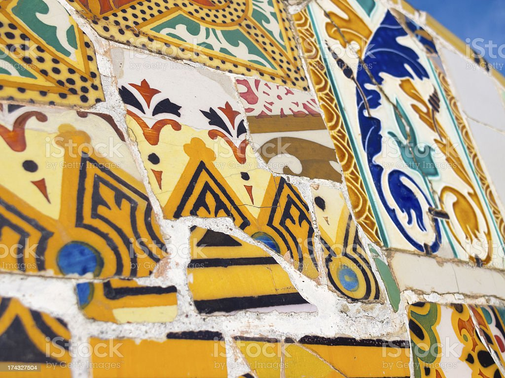Background of Antonio Gaudi mosaics royalty-free stock photo