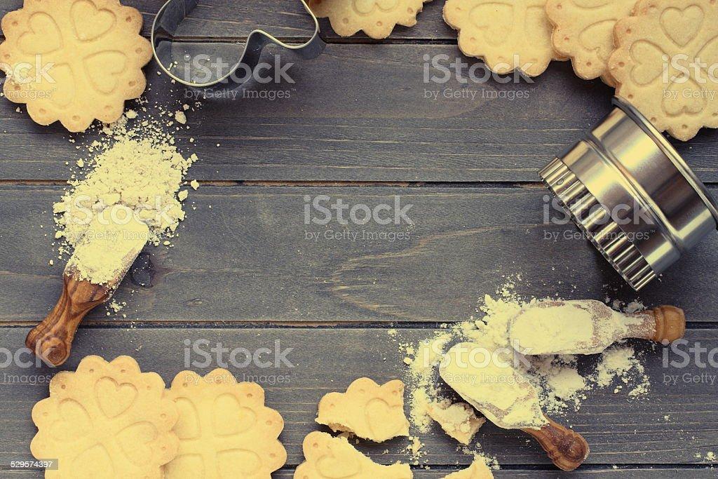 Background of baking gluten free shortbread cookies stock photo