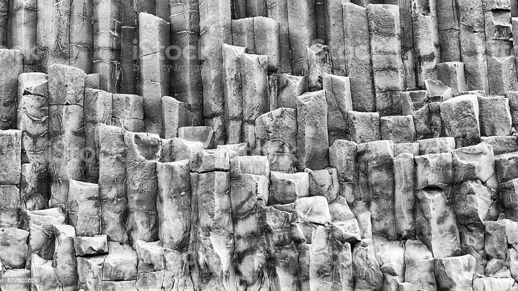 Background of basalt colums in southern Iceland stock photo