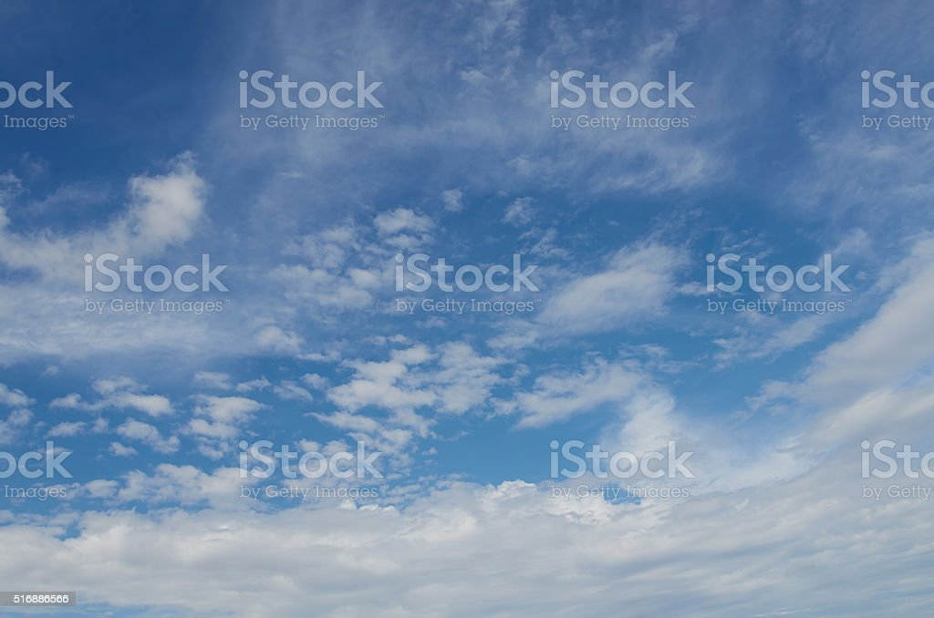 Background of blue sky with cirrus clouds stock photo
