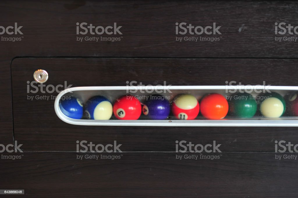 Background of blue woolen fabric flannel felt snooker table and hole stock photo
