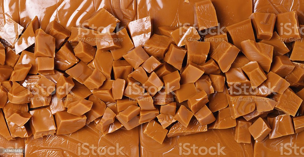Background of brown toffee chunks stock photo
