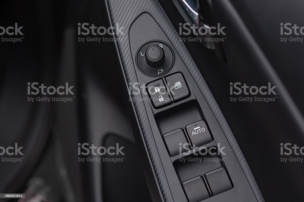 Background of car lock / unlock buttons and window buttons. stock photo