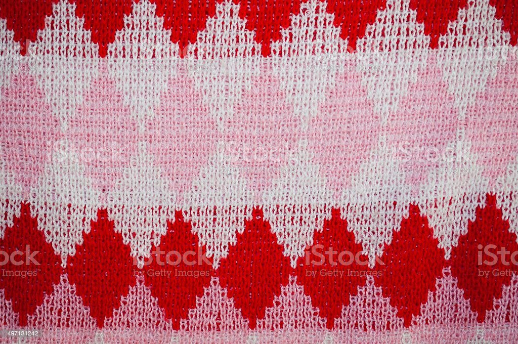 Background of checked woolen knitted pattern stock photo