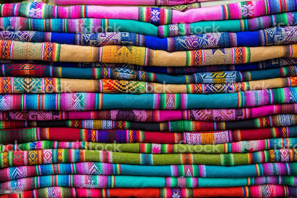Background of colored fabrics from Colombian ethnic market stock photo