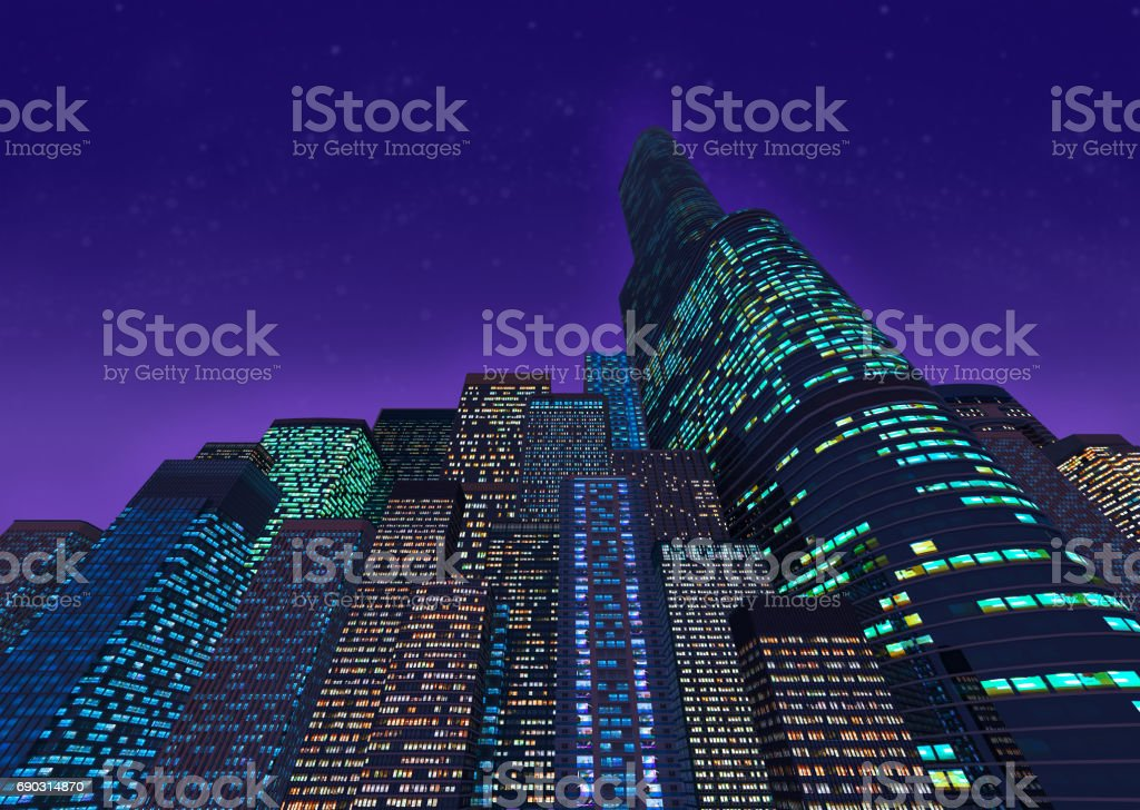 Background of colored skyscrapers at night stock photo