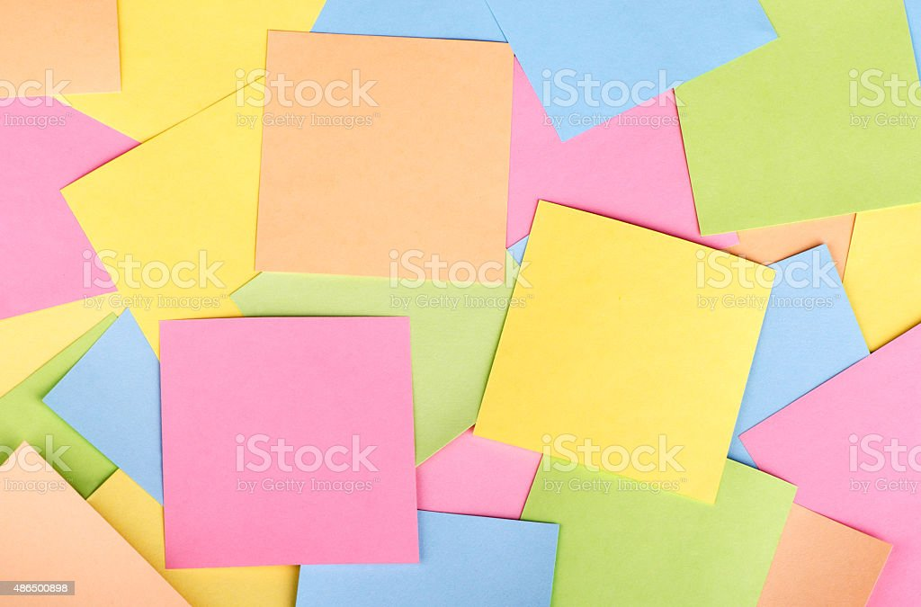 background of colored stickers stock photo