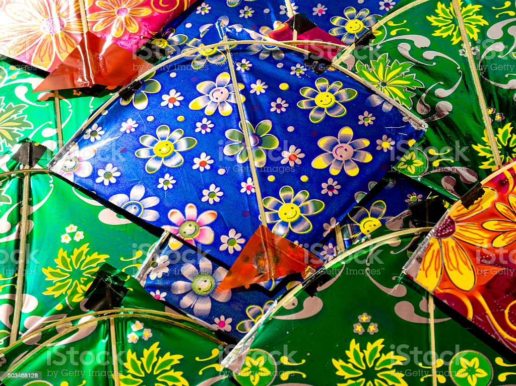 Background of colorful indian kites stock photo