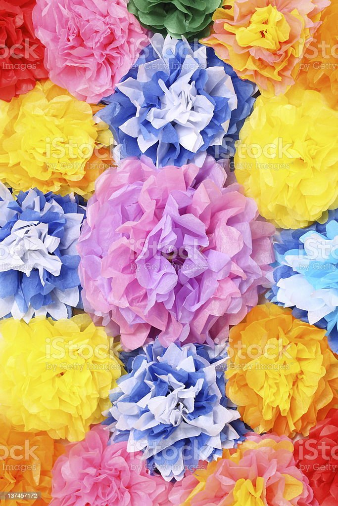 A background of colorful paper flowers stock photo