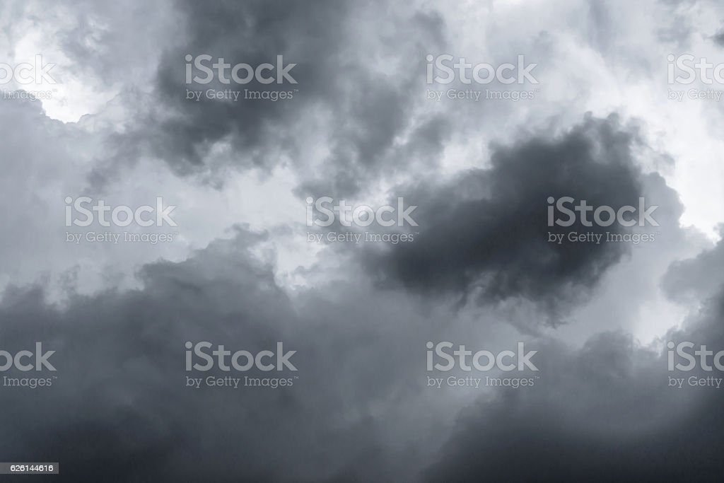 Background of dark clouds before a thunder-storm stock photo