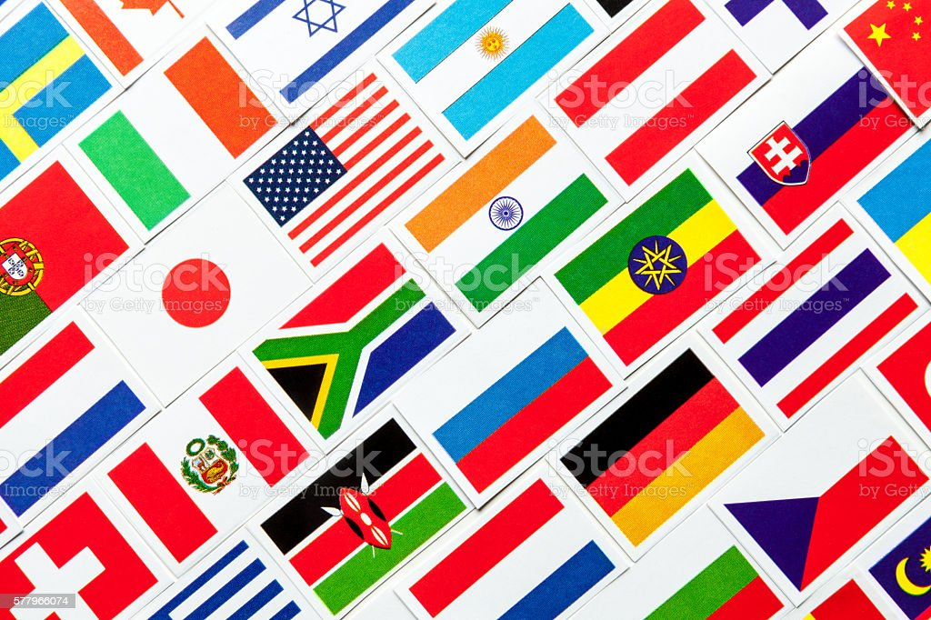 Background of different colorful national flags of the world. Collage stock photo