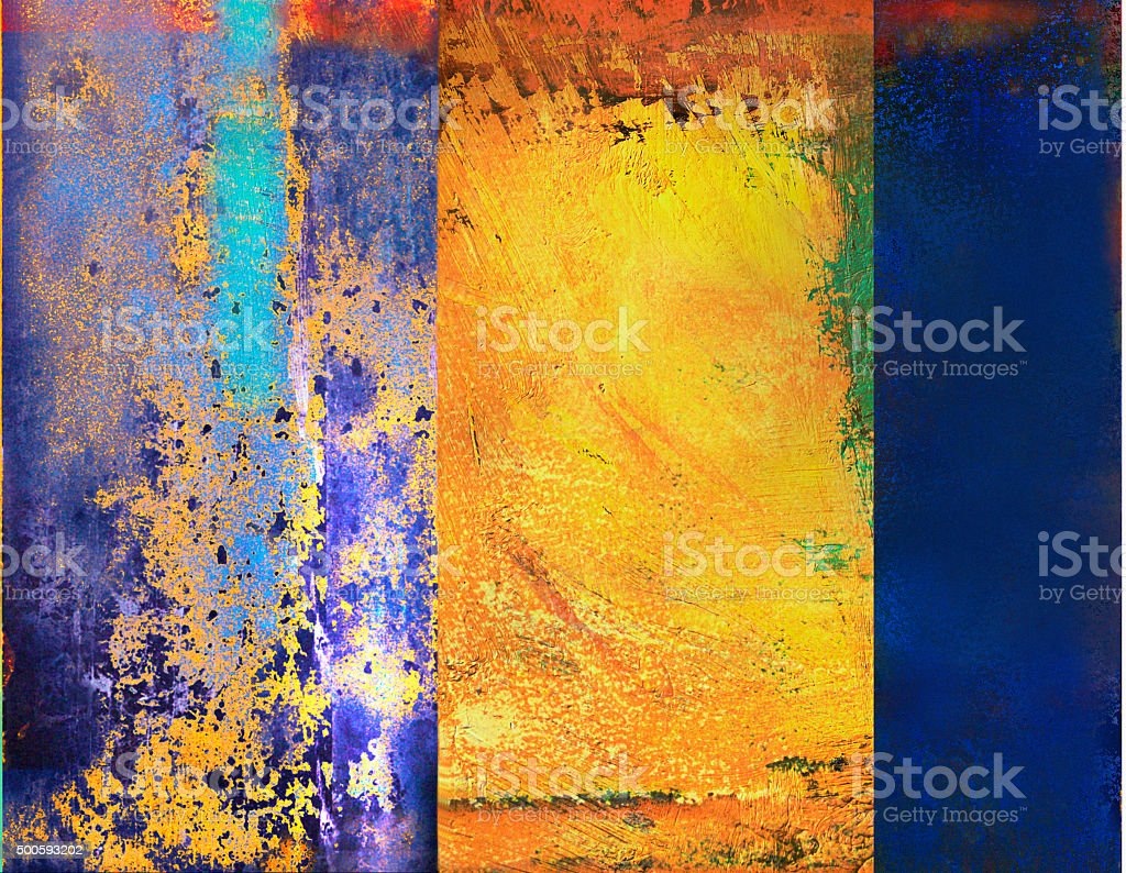 Background of digital blue and  yellow abstract art. stock photo