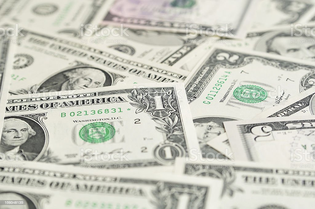 Background of dollar banknotes with  selective focus. royalty-free stock photo