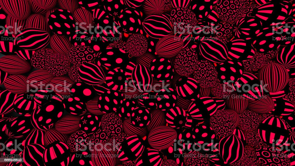 Background of eggs with trendy patterns in red and black colors, 3d illustration stock photo