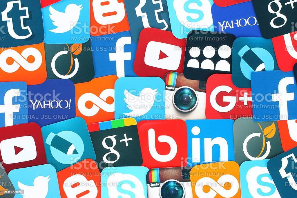 Background of famous social media icons stock photo