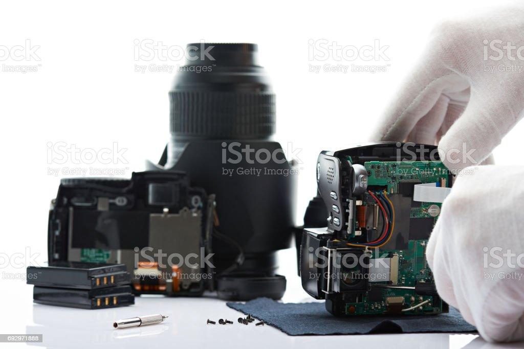 Background of fixing modern camera stock photo