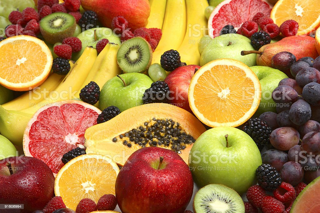 Background of fresh fruits stock photo