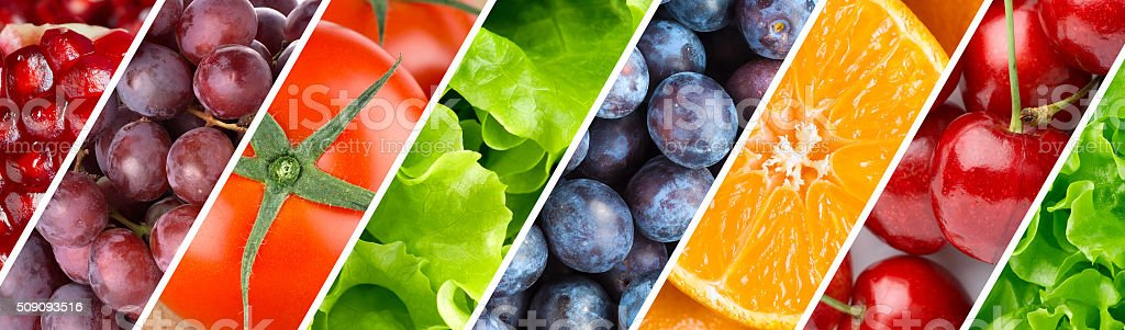 Background of fruits, berries and vegetables stock photo