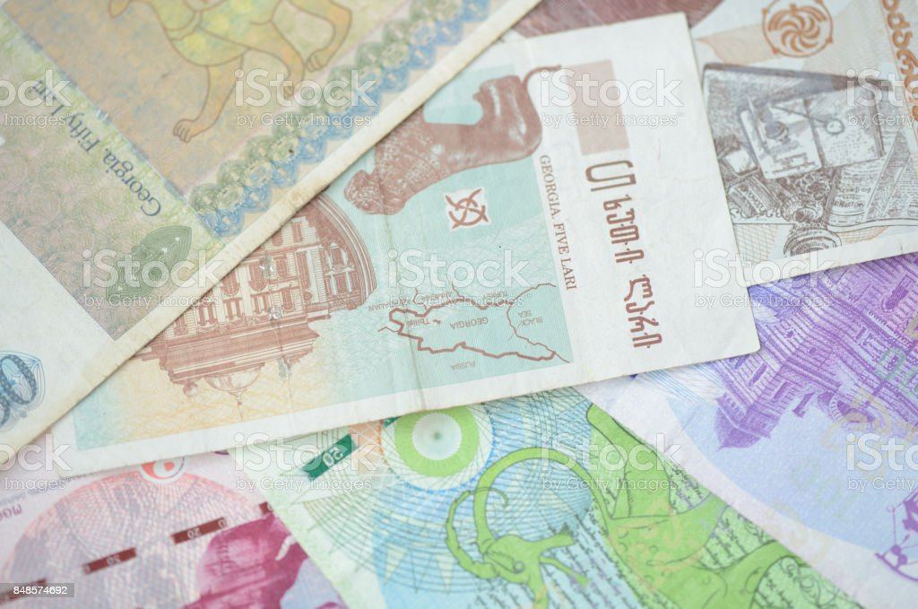 Background of Georgian Lari banknotes close up stock photo