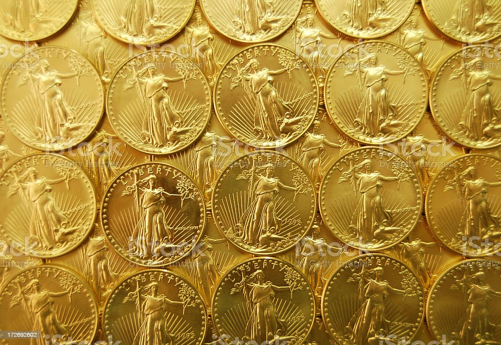 Background of Gold Coins stock photo