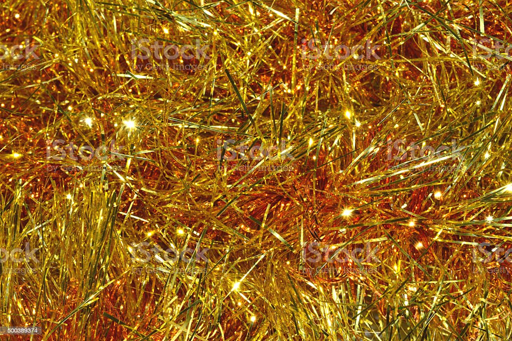 Background of golden Christmas garland stock photo