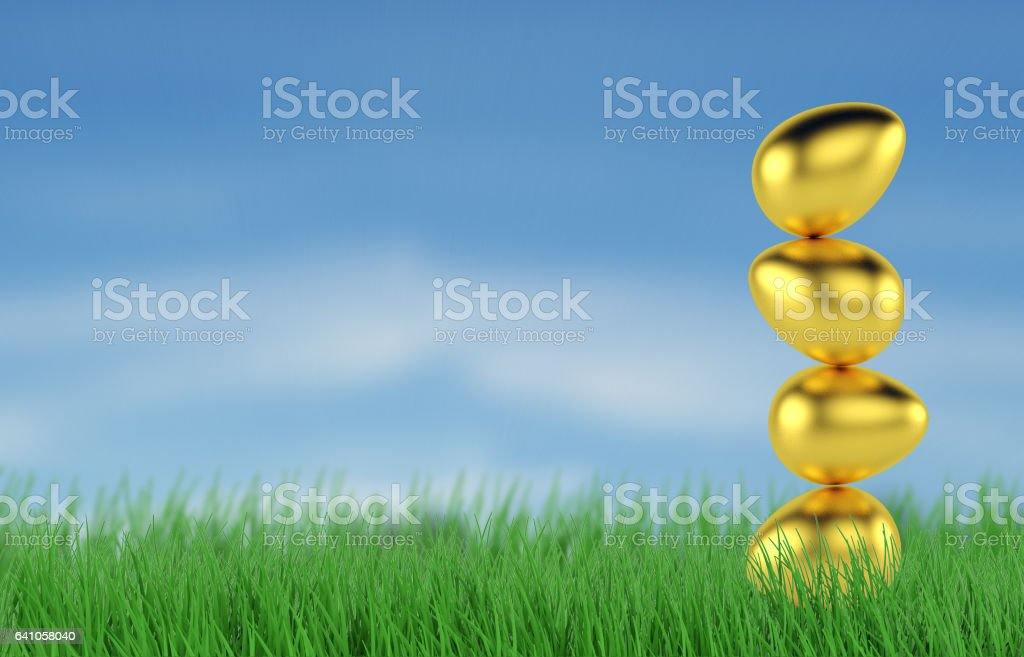 background of golden eggs for sale. 3d render stock photo