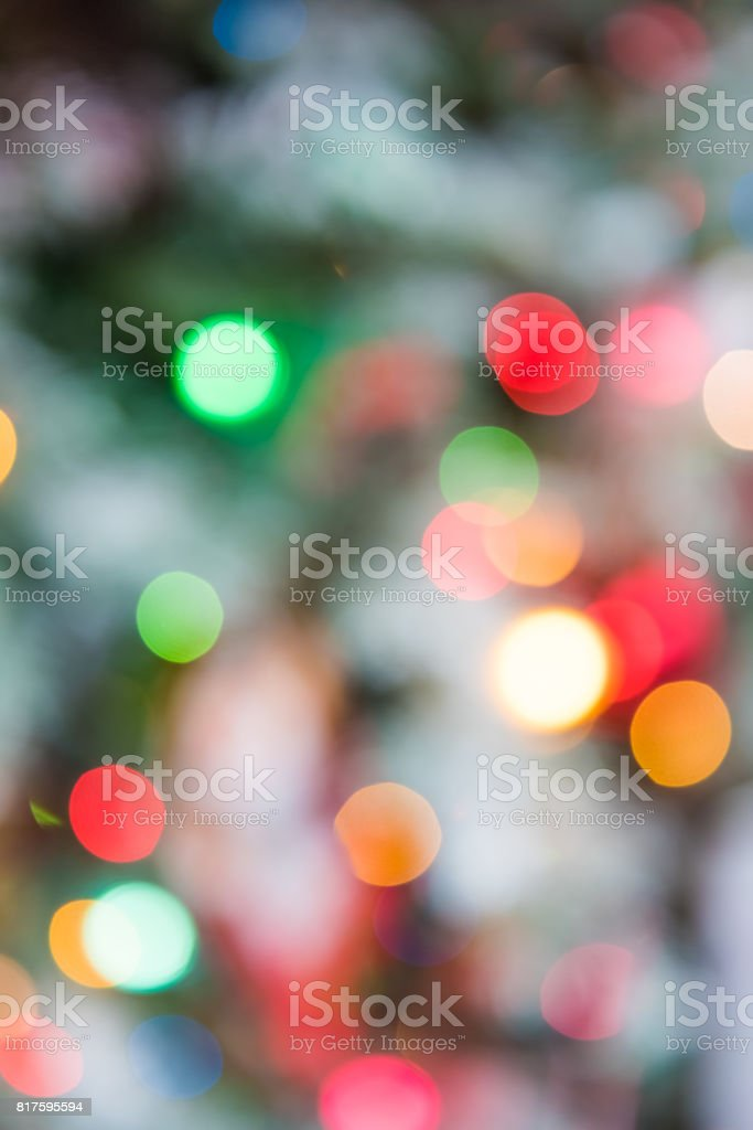 Background of green and red Christmas ornament bokeh stock photo