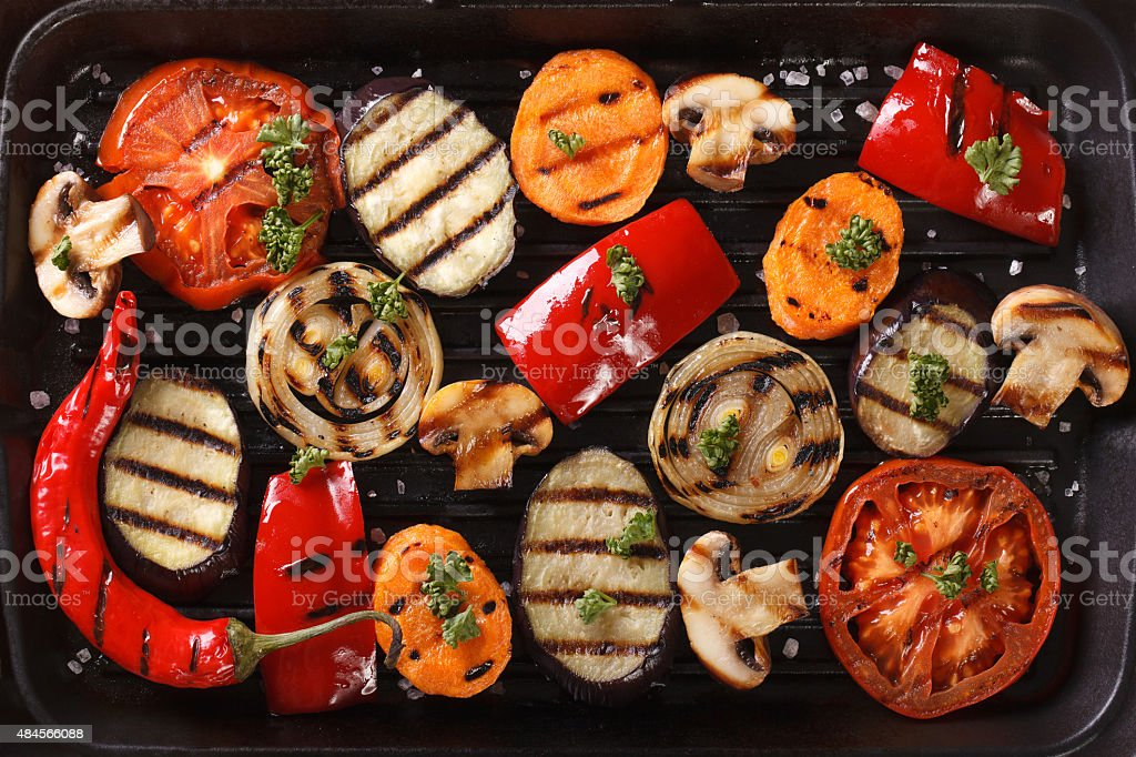 Background of grilled vegetables close up. Horizontal top view stock photo