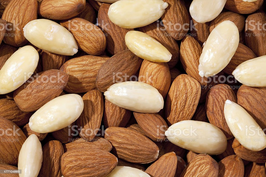background  of group of brown and white almond closeup royalty-free stock photo