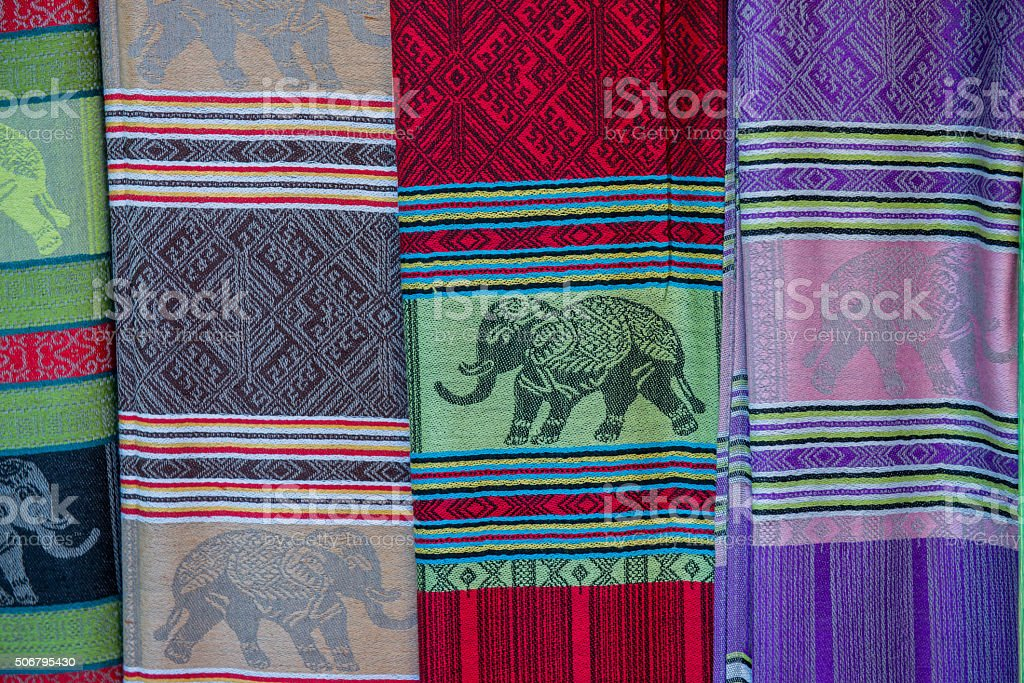 background of handmade Silk Scarves stock photo