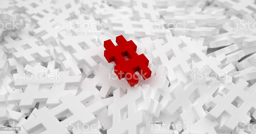 Background of hash tags symbols to illustrate new social media stock photo