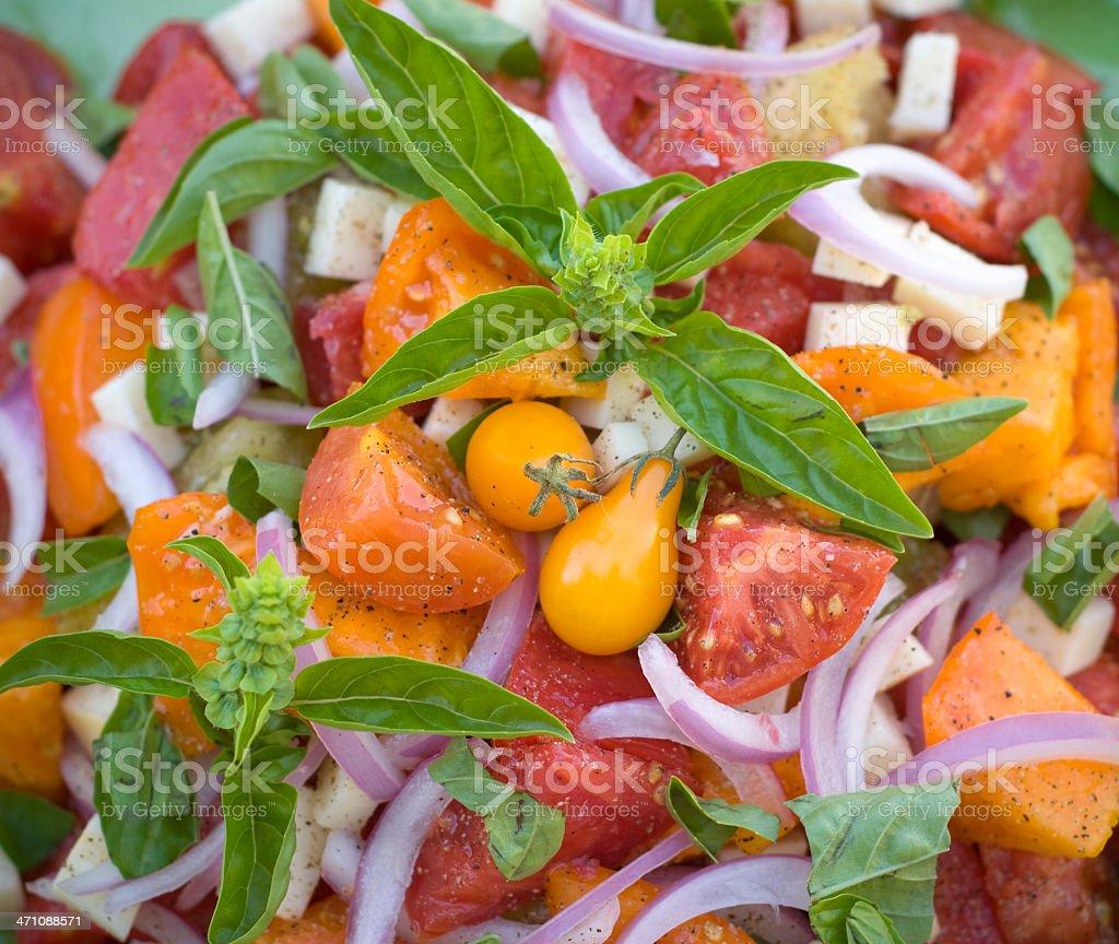 Background of Heirloom Tomato Salad royalty-free stock photo