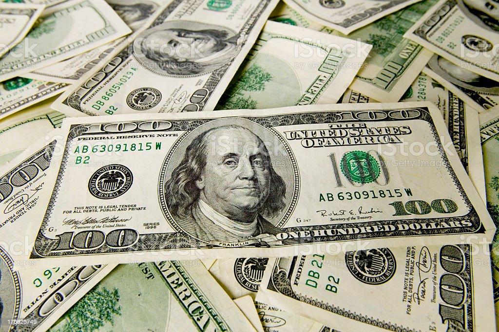 Background of hundred dollar bills royalty-free stock photo