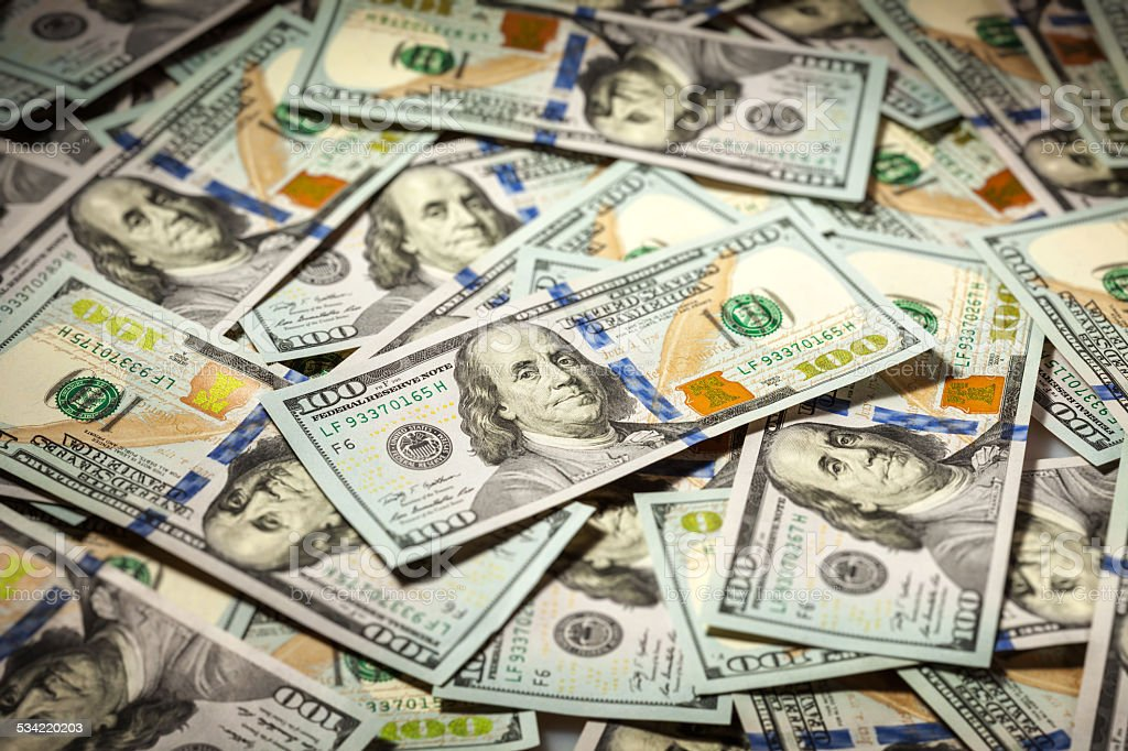 Background of hundred dollars bank notes stock photo