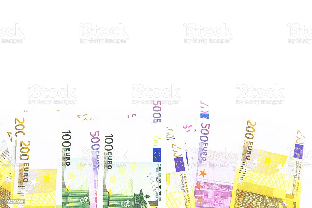 Background of hundreds euro on bottom stock photo