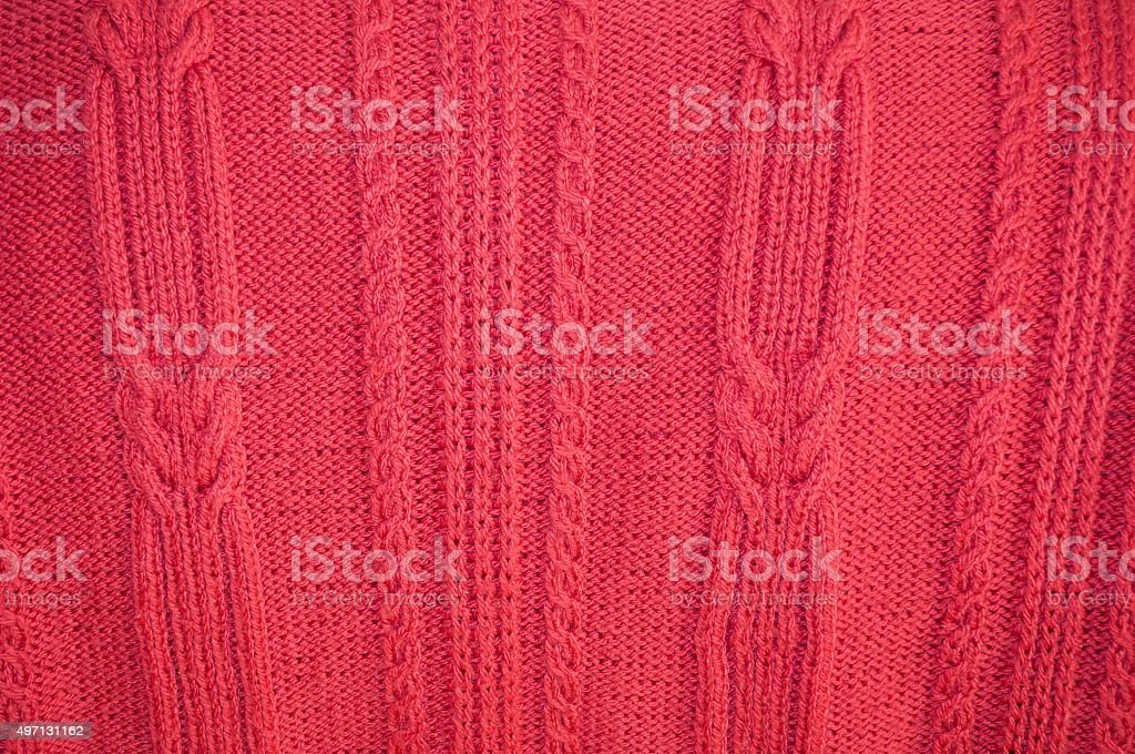 Background of knitted red pullover stock photo