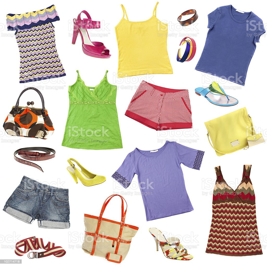 Background of ladies' clothes and accessories royalty-free stock photo