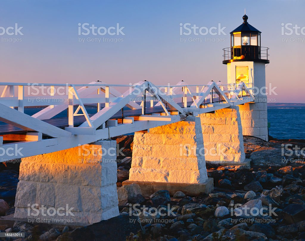 Background of Maine Coastline and the bridge with rocks royalty-free stock photo
