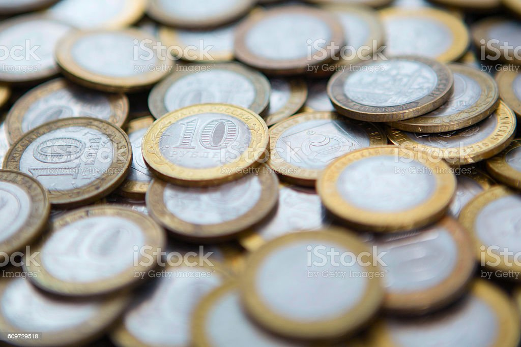 background of many different coins rubles stock photo
