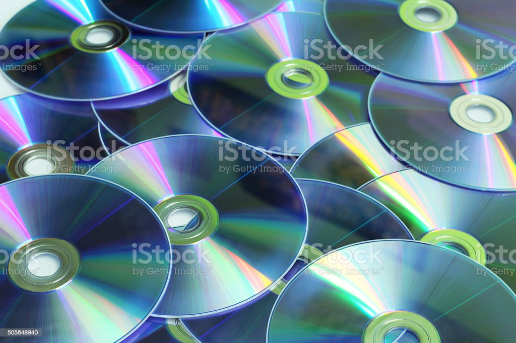 Background of Many Glowing CD disk stock photo