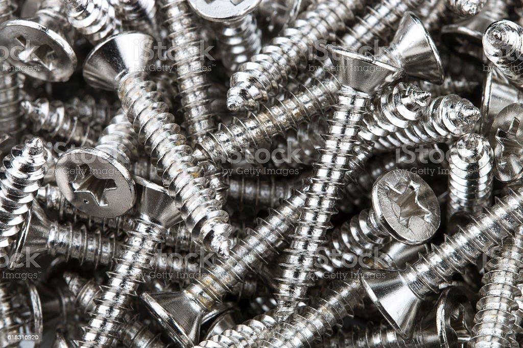 Background of many screws stock photo