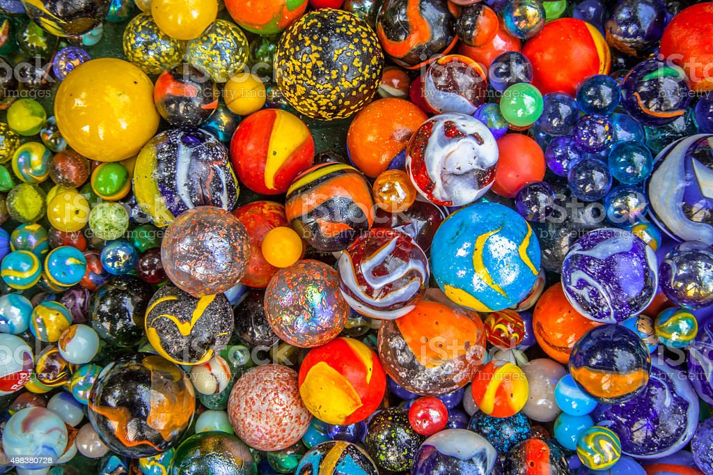 Background of marbles in many colors stock photo