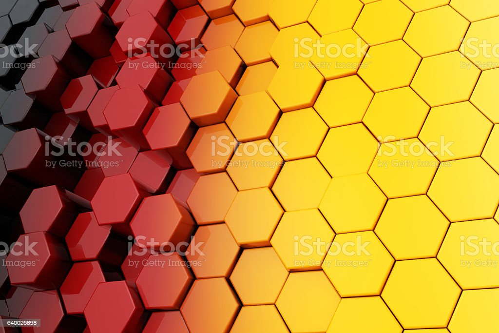 Background of Metal Multicolour Hexagon. 3d Rendering stock photo