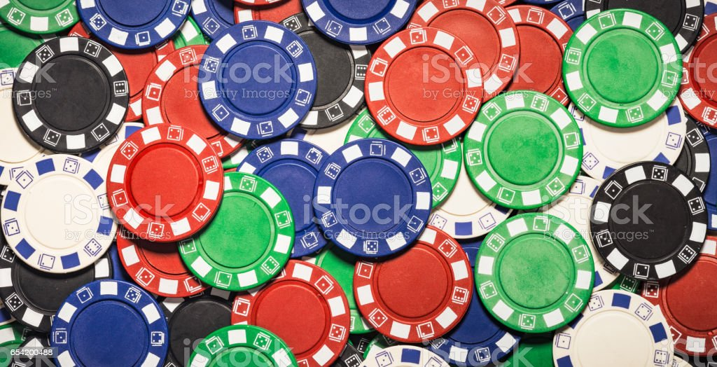 Background of mixed gambling chips stock photo
