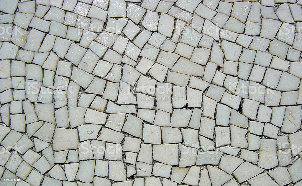 Background of Mosaic White Tiles from Pompeian Ruins stock photo